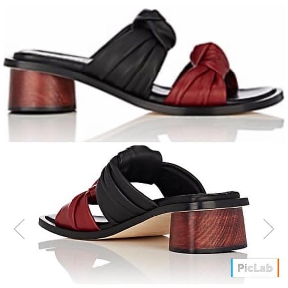 Helmut Lang Knotted Strap Leather Slide Sandals